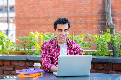 544356862 istock photo College student using a laptop in a coffee shop stock photo 1216565763