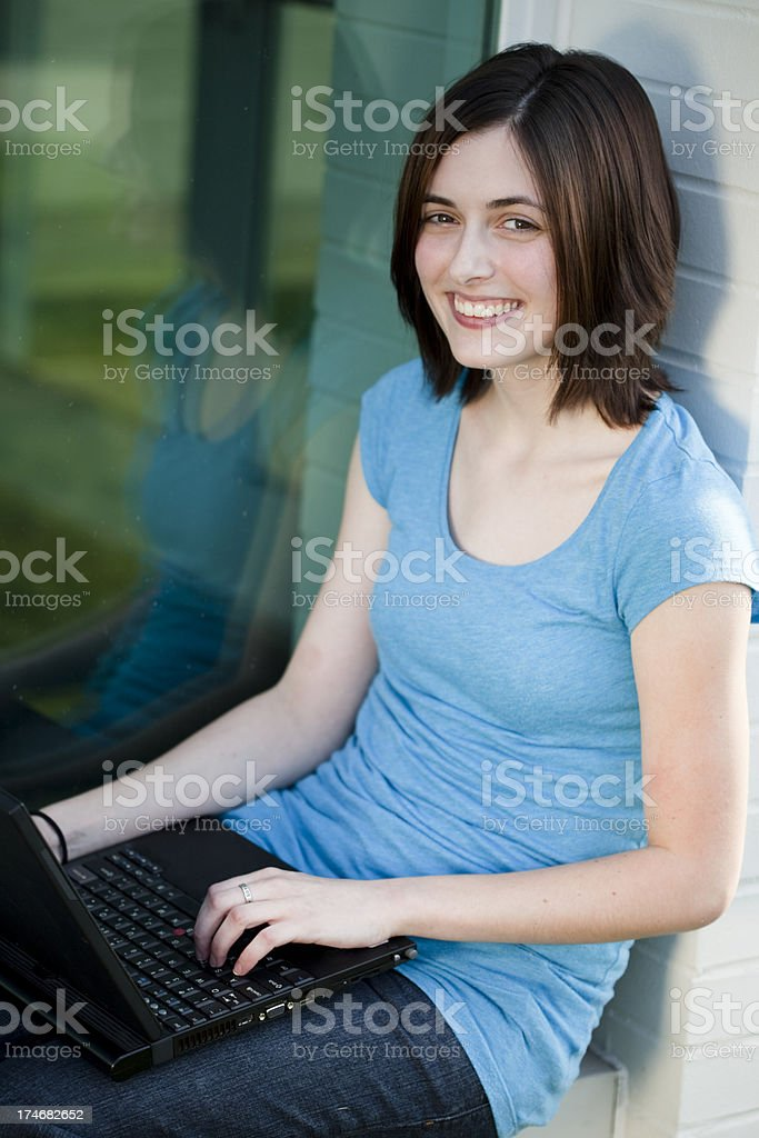 College Student with a computer royalty-free stock photo