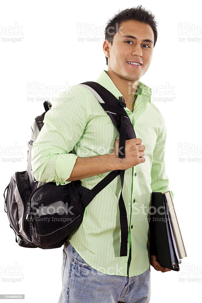 College student with backpack and books posing royalty-free stock photo