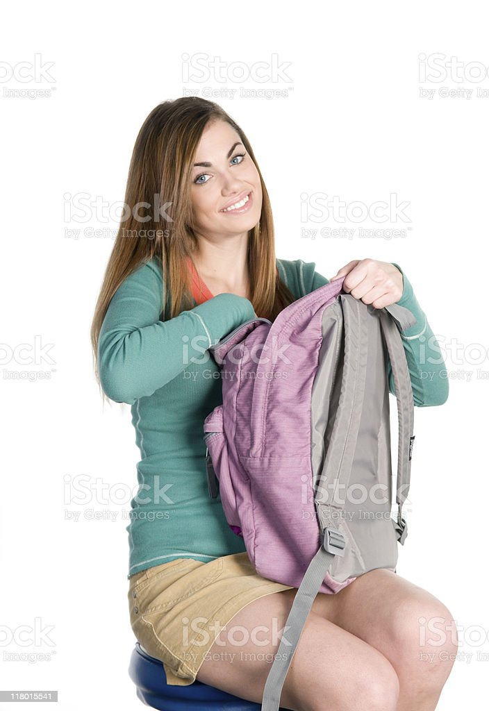 College Student with Bookbag stock photo