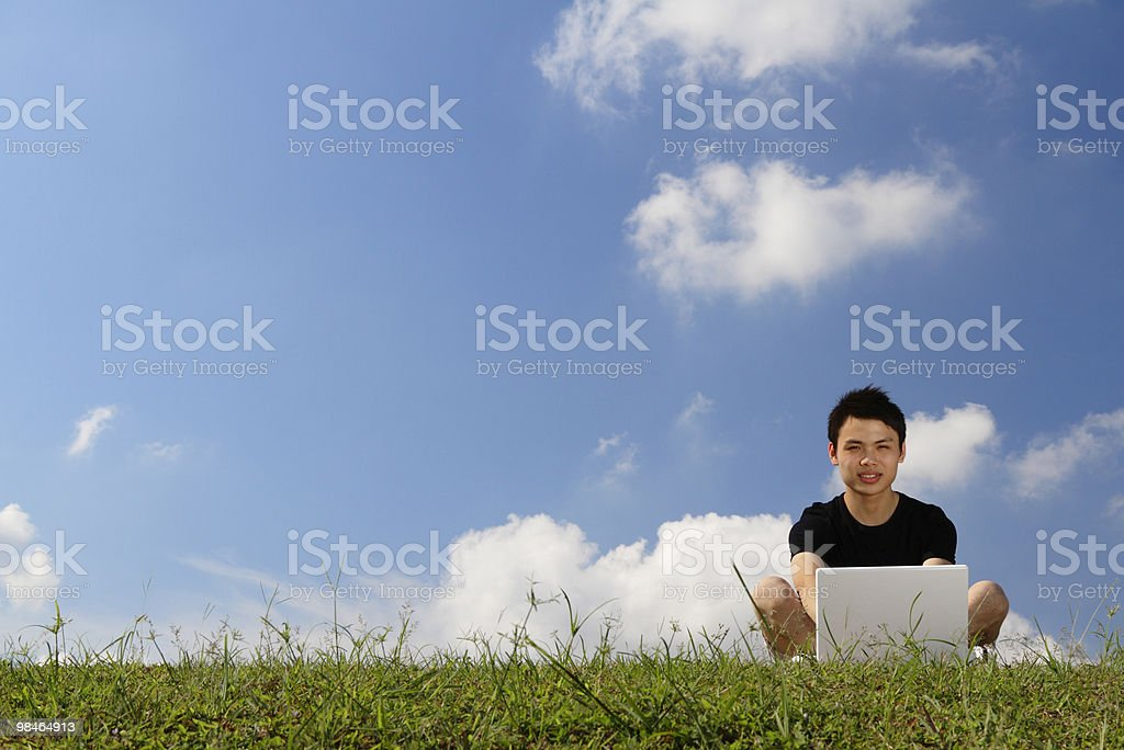 College student with laptop royalty-free stock photo