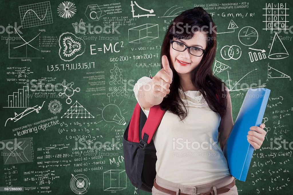 College student with OK sign and scribble Lizenzfreies stock-foto