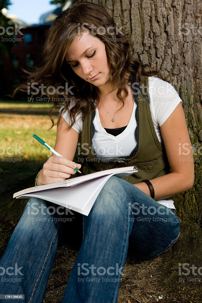 College Student Works On Term Paper royalty-free stock photo