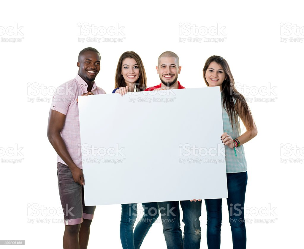 College Students and Blank Sign royalty-free stock photo