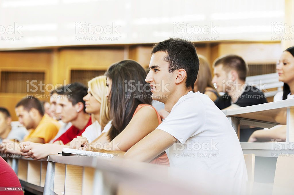 College students at university amphitheatre. stock photo