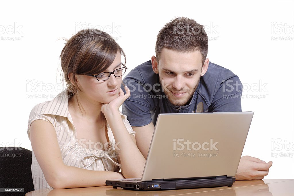College students browsing the internet royalty-free stock photo