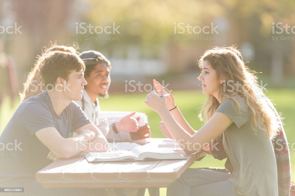 College students hang out in between classes and study on the grass stock photo