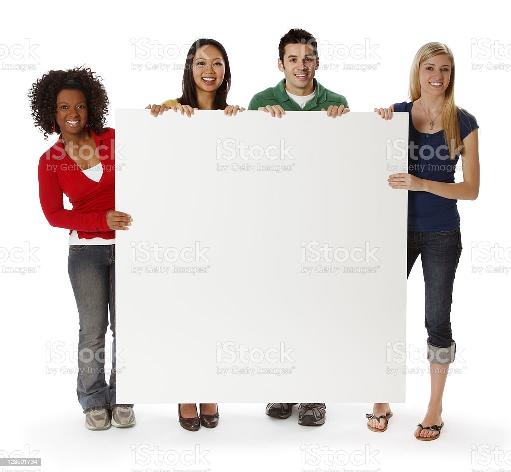 College Students Holding a Blank Sign stock photo