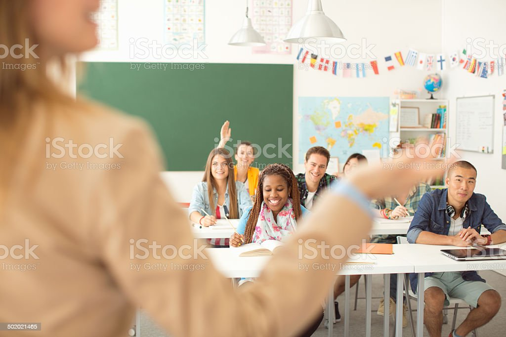 College students in a classroom. stock photo