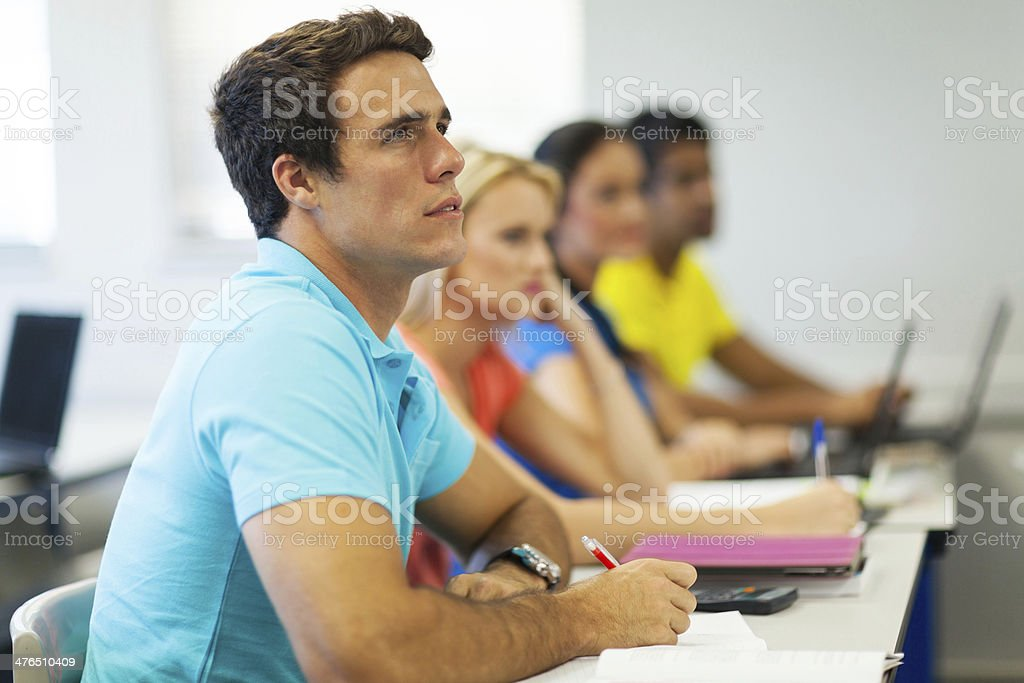 college students in class stock photo