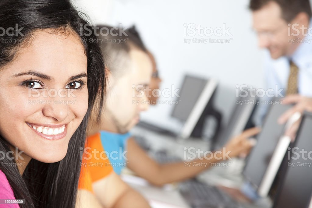 College students in computer lab with teacher. Training class. royalty-free stock photo