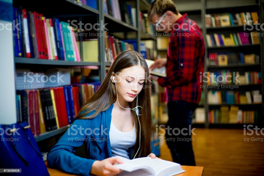 College students in library royalty-free stock photo
