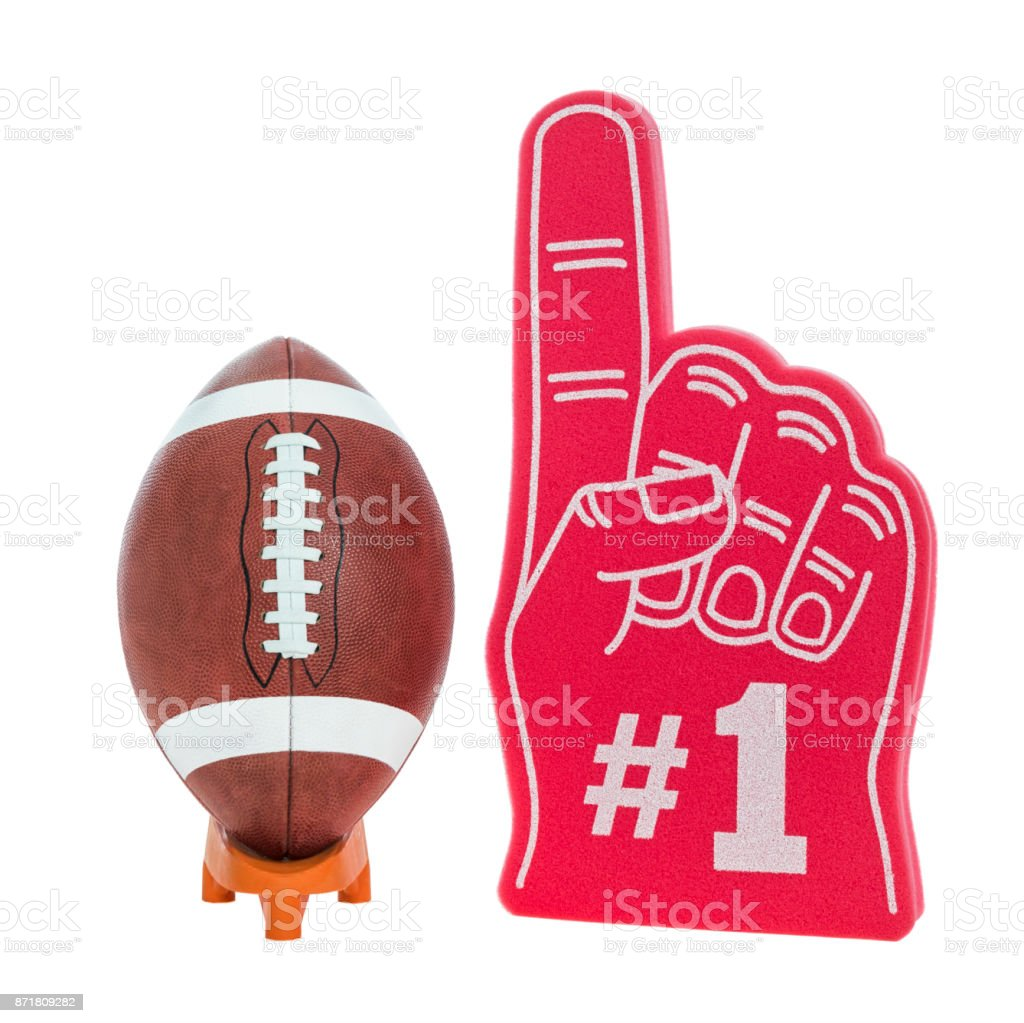 College/High School American Football on a tee with red foam #1 finger stock photo