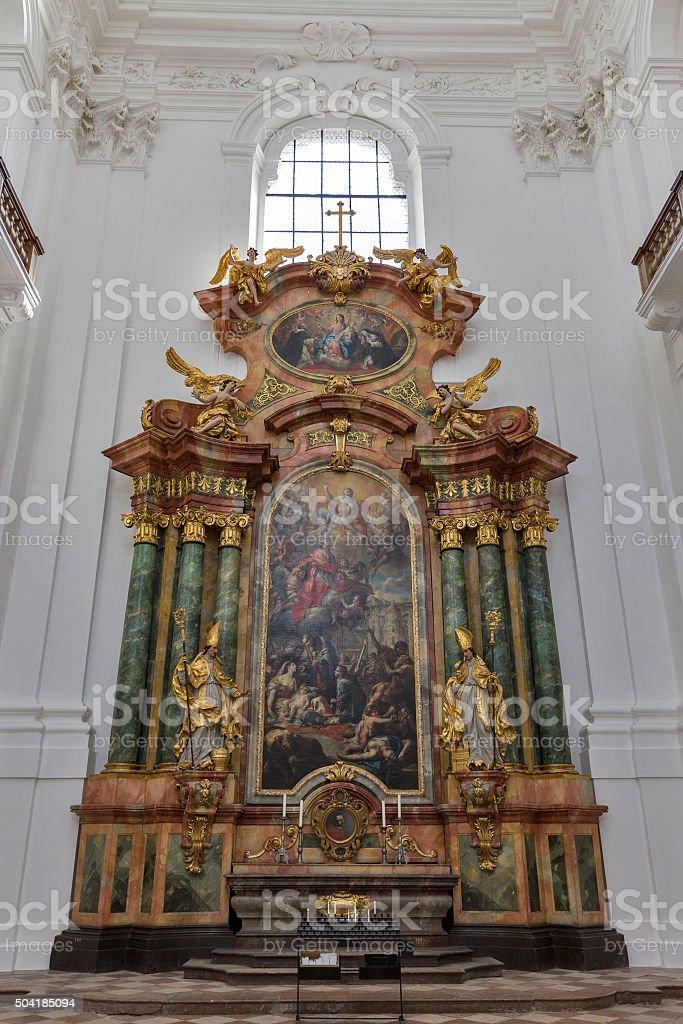 Collegiate church Altar in Salzburg, Austria stock photo