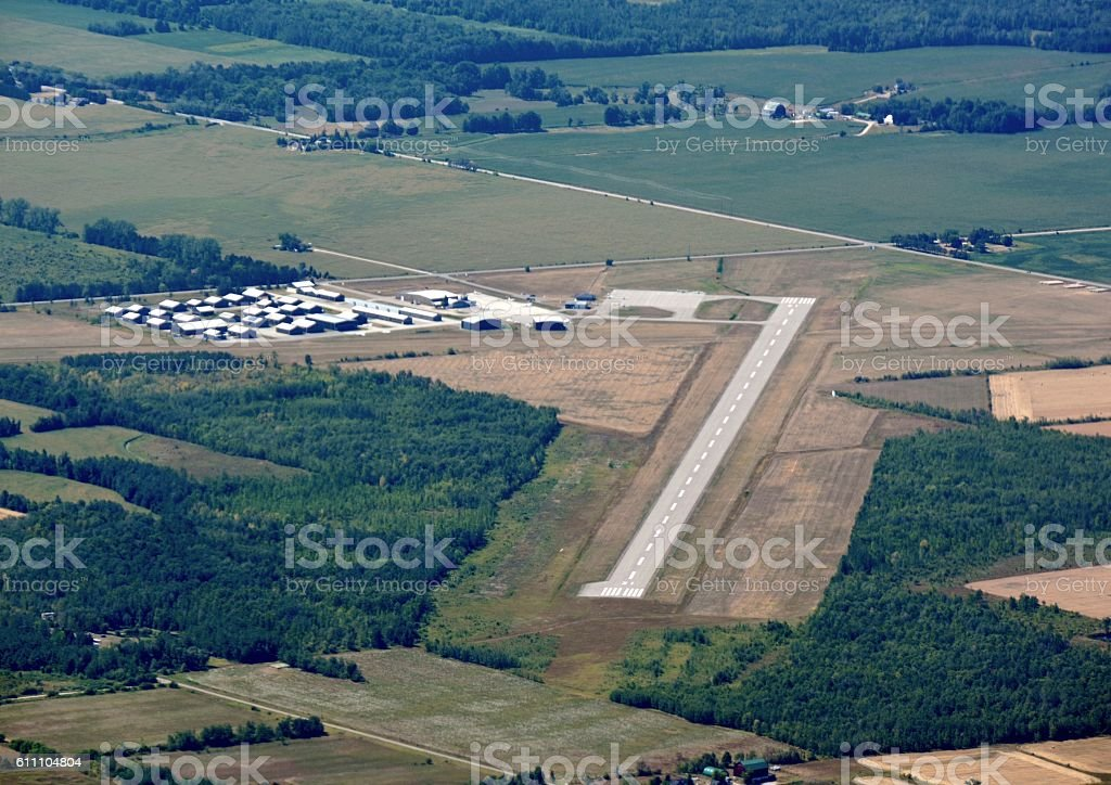 Collingwood airport, aerial stock photo