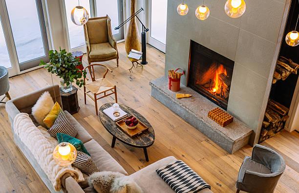 collingwood cottage offenes innenfach - betonboden wohnzimmer stock-fotos und bilder