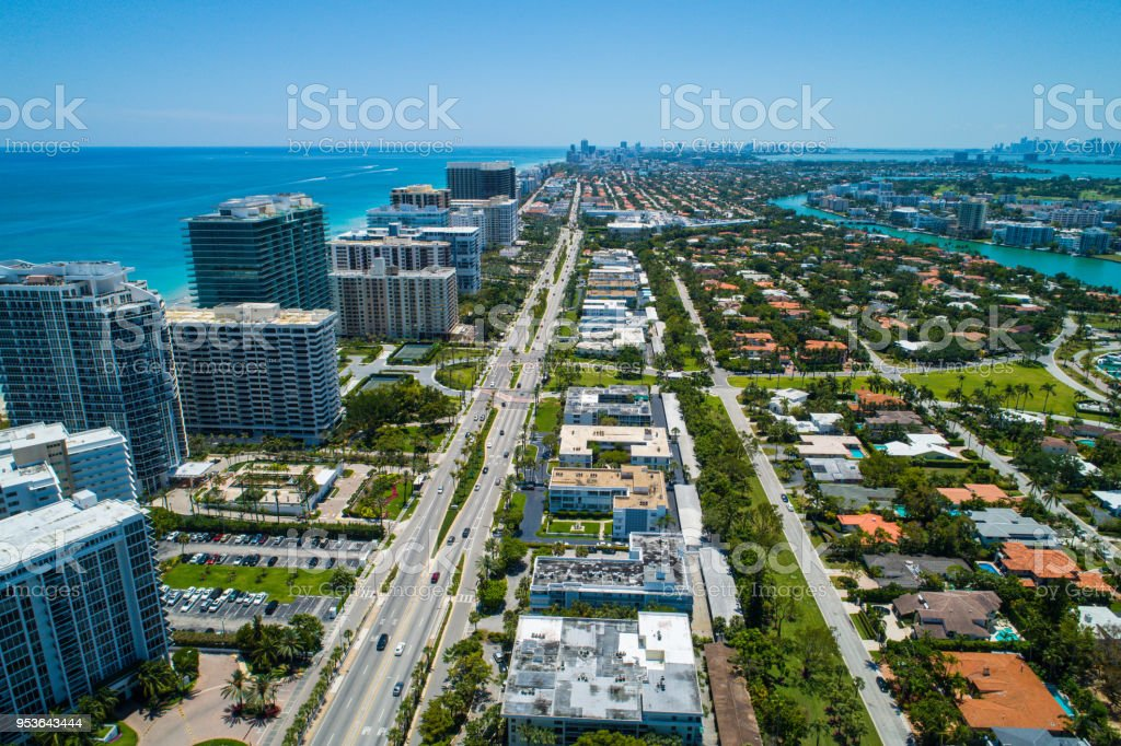 Collins Avenue Bal Harbour aerial drone shot stock photo
