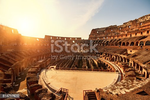 horizontal shot of Colliseum in sunset time in summer day.
