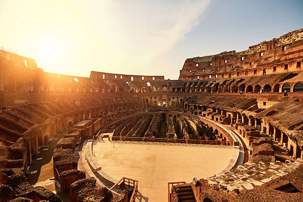 colliseum in the sunset - roman stock photos and pictures