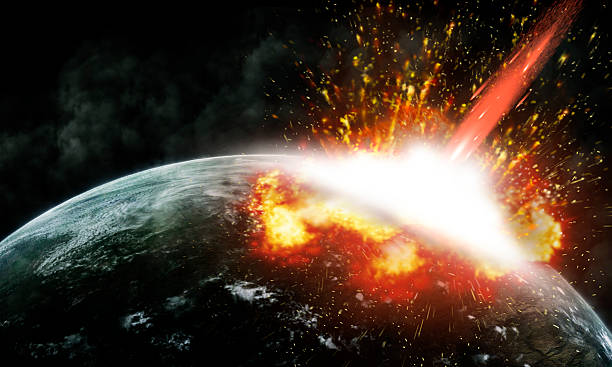 Collision of an asteroid with the Earth stock photo