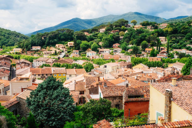 Collobrieres village, Provence, France View over the town of Collobrieres in the Provence region of France. var stock pictures, royalty-free photos & images