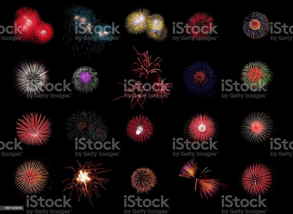 Colloection of firework stock photo