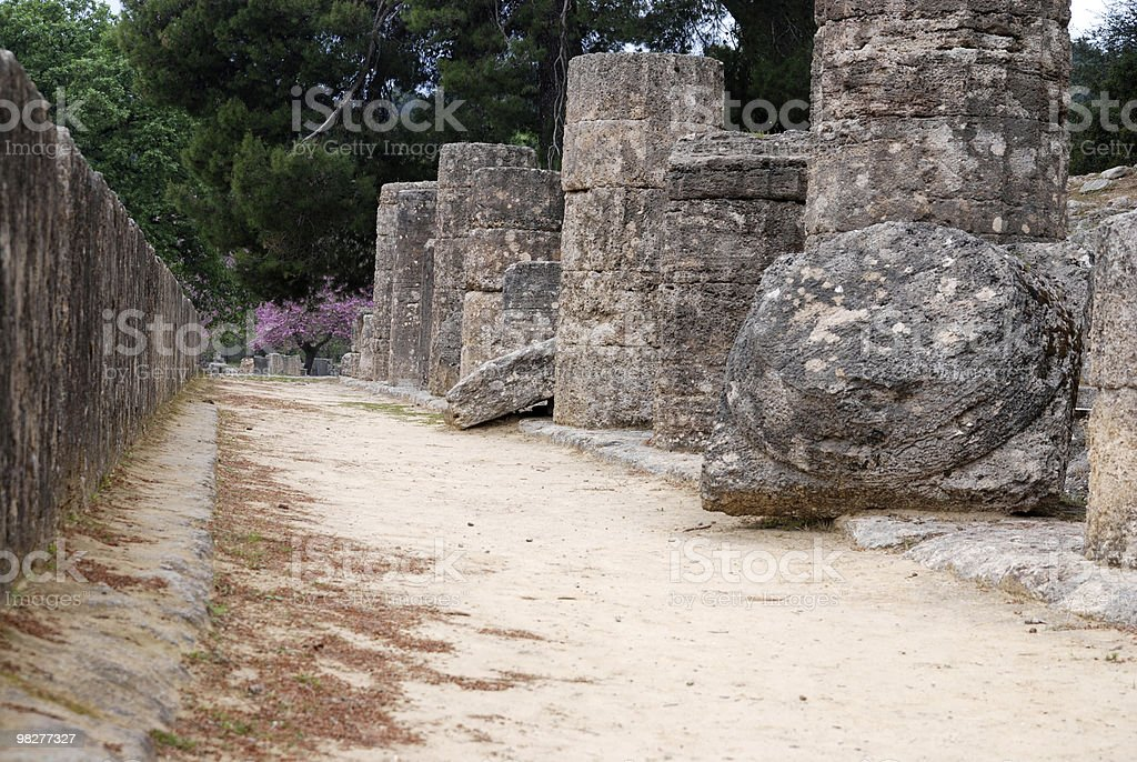 Collonade from temple of Hera at Ancient Olympia royalty-free stock photo