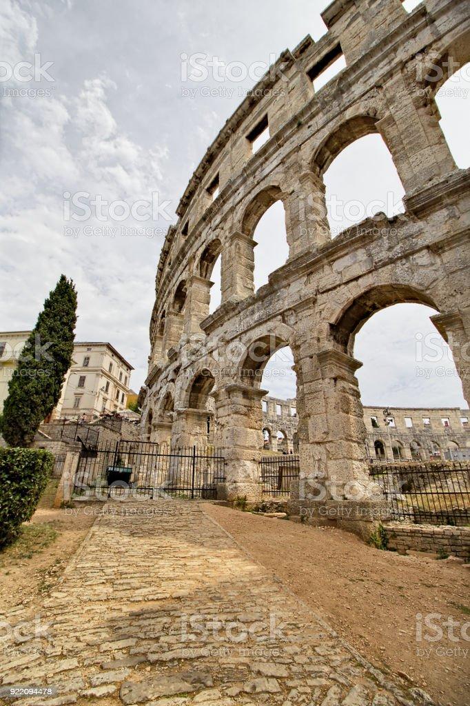 Colloseum - Croatia. Pula. Ruins of the best preserved Roman amphitheater stock photo
