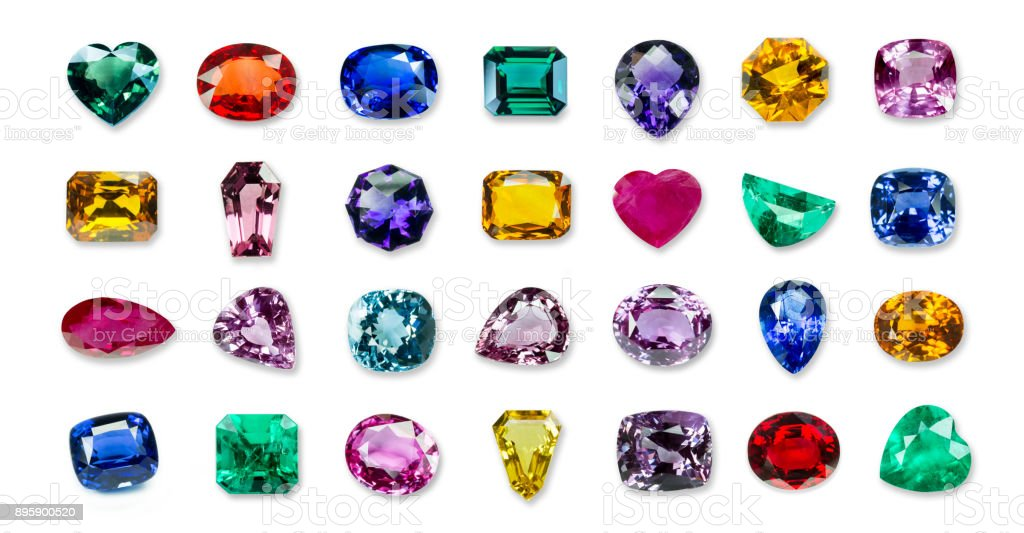 collrection of Bright gems isolated on a white background royalty-free stock photo