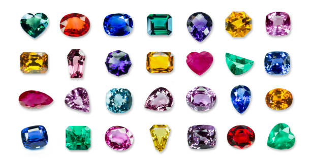 collrection of Bright gems isolated on a white background stock photo