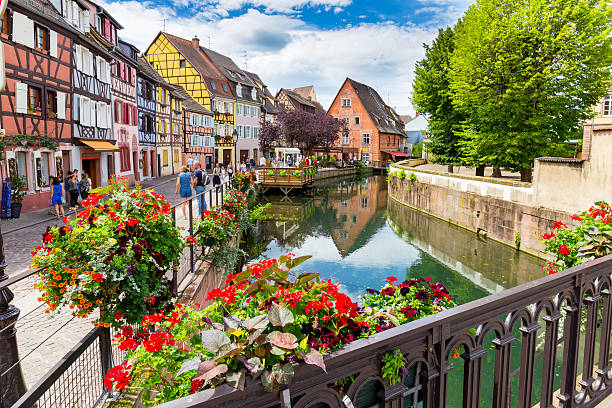 Colmar architecture and flower decoration stock photo
