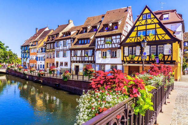 Colmar, France. Colmar, Alsace, France. Petit Venice, water canal and traditional half timbered houses. strasbourg stock pictures, royalty-free photos & images