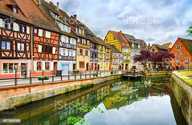 Colmar Petit Venice Water Canal And Traditional Houses Alsace Stock Photo - Download Image Now