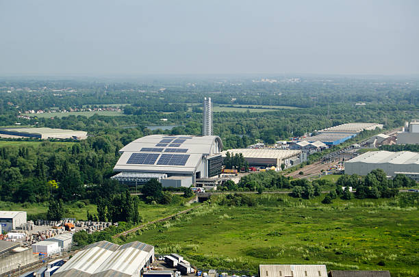 Colnbrook Incinerator, aerial view stock photo