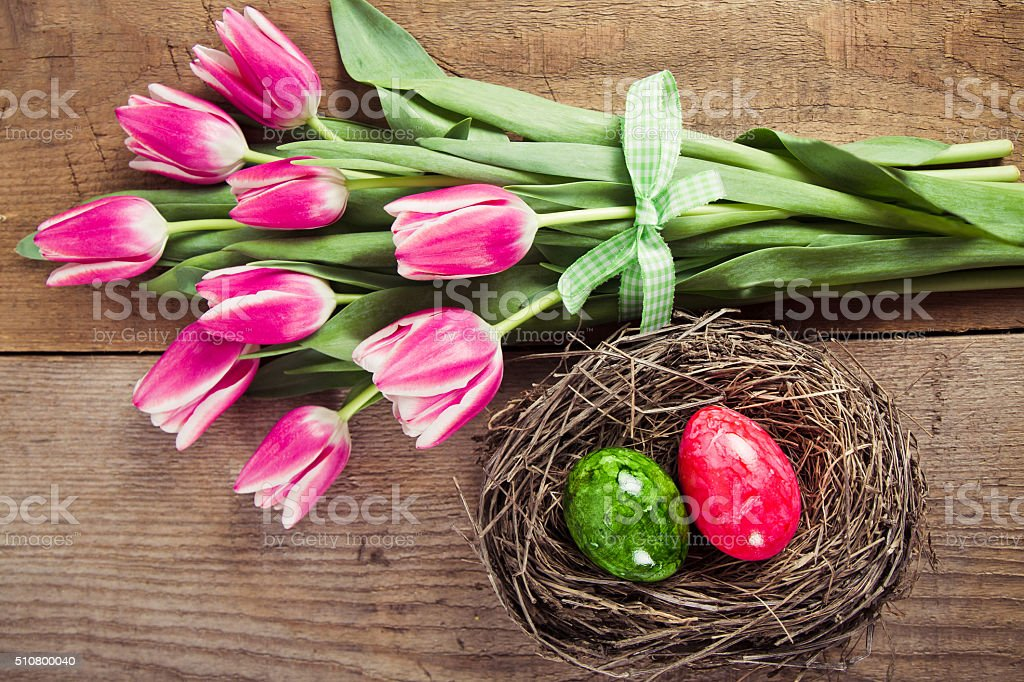colofrul easter eggs in the nest stock photo