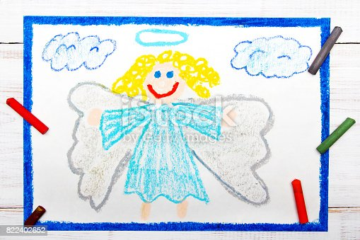 istock Coloful drawing: Beautiful angel with curly hair 822402652