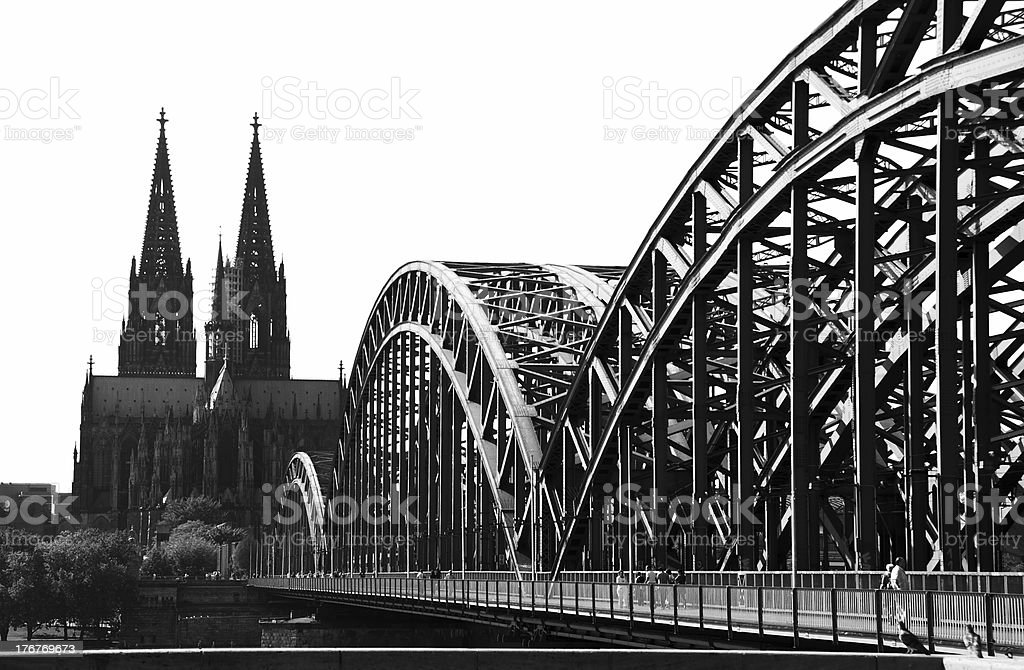 Cologne Bridge and Cathedral (Black & White) royalty-free stock photo