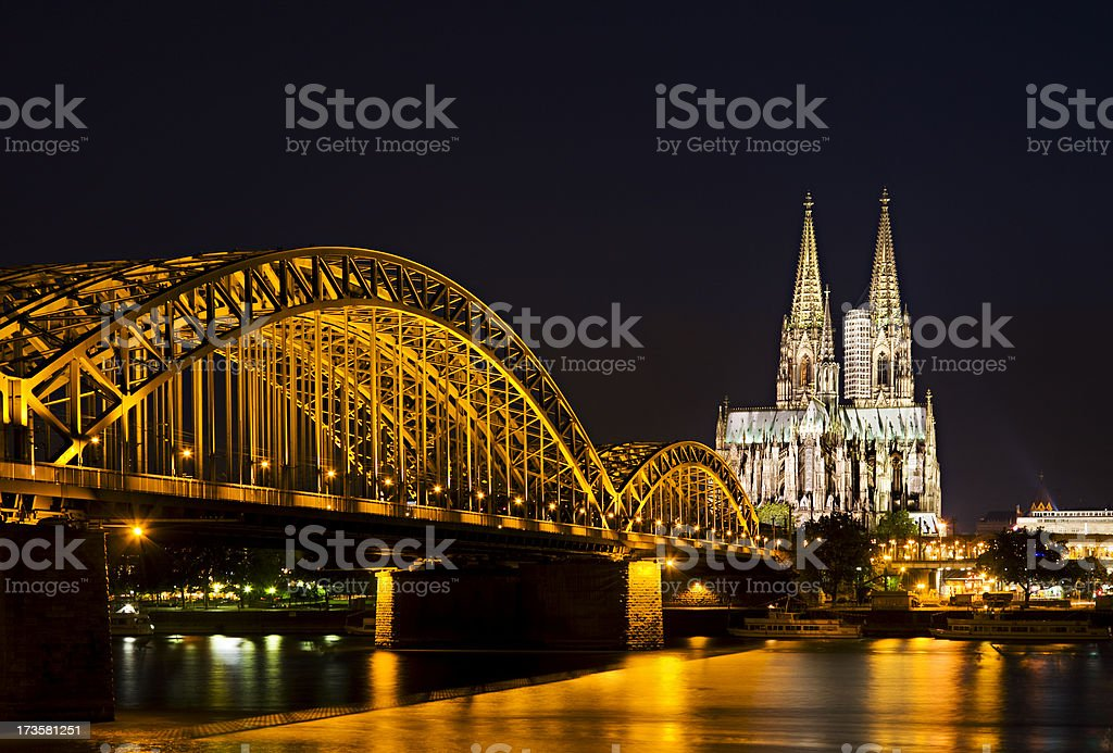 Cologne Cathedral And Bridge royalty-free stock photo