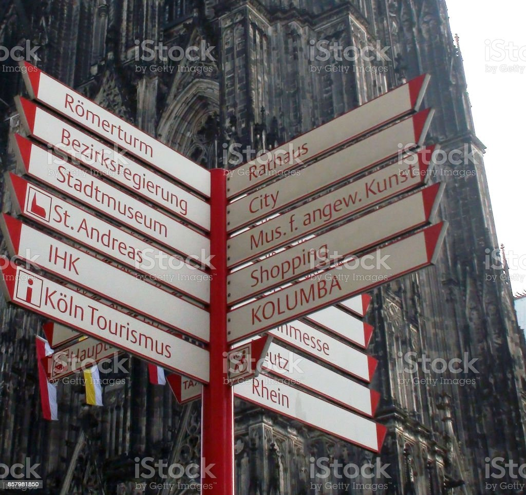 Cologne Cathedral And Direction Signs Scene In Germany Europe