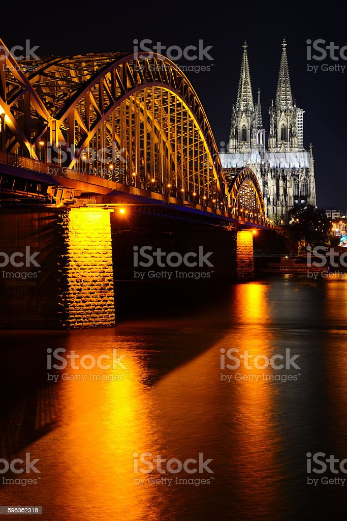 Cologne Cathedral (Dom) and Hohenzollern Bridge, Cologne, Germany royalty-free stock photo