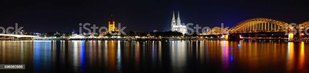 Cologne Cathedral (Dom) and Hohenzollern Bridge, Cologne, Germany stock photo