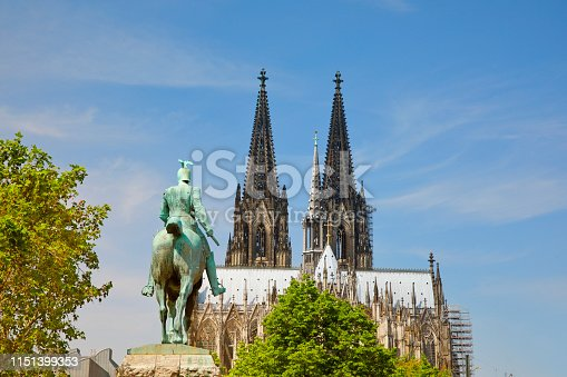 Cologne Cathedral and Kaiser Wilhelm I. sculpture seen from the eastern, Hohenzollern Bridge side.