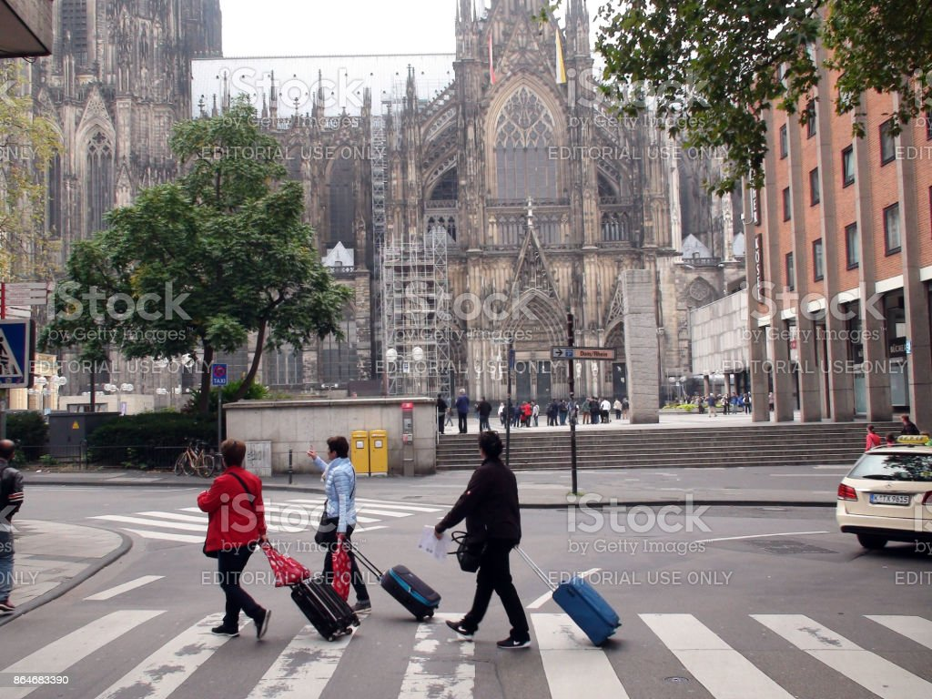 cologne cathedral and people scene in germany western europe royalty free stock photo