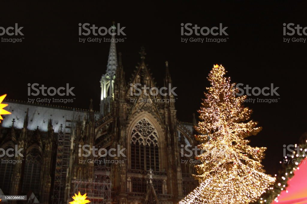 Cologne Cathedral at Christmas stock photo