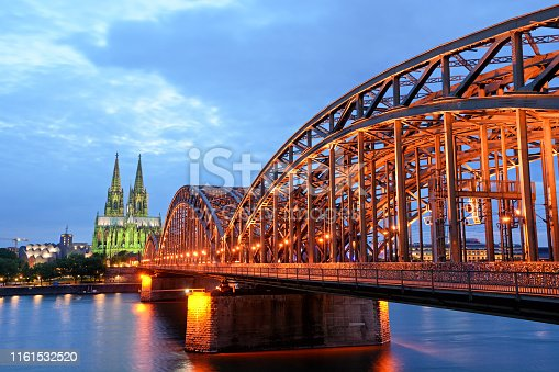 Hohenzollern Bridge and Cologne Cathedral at night, Germany