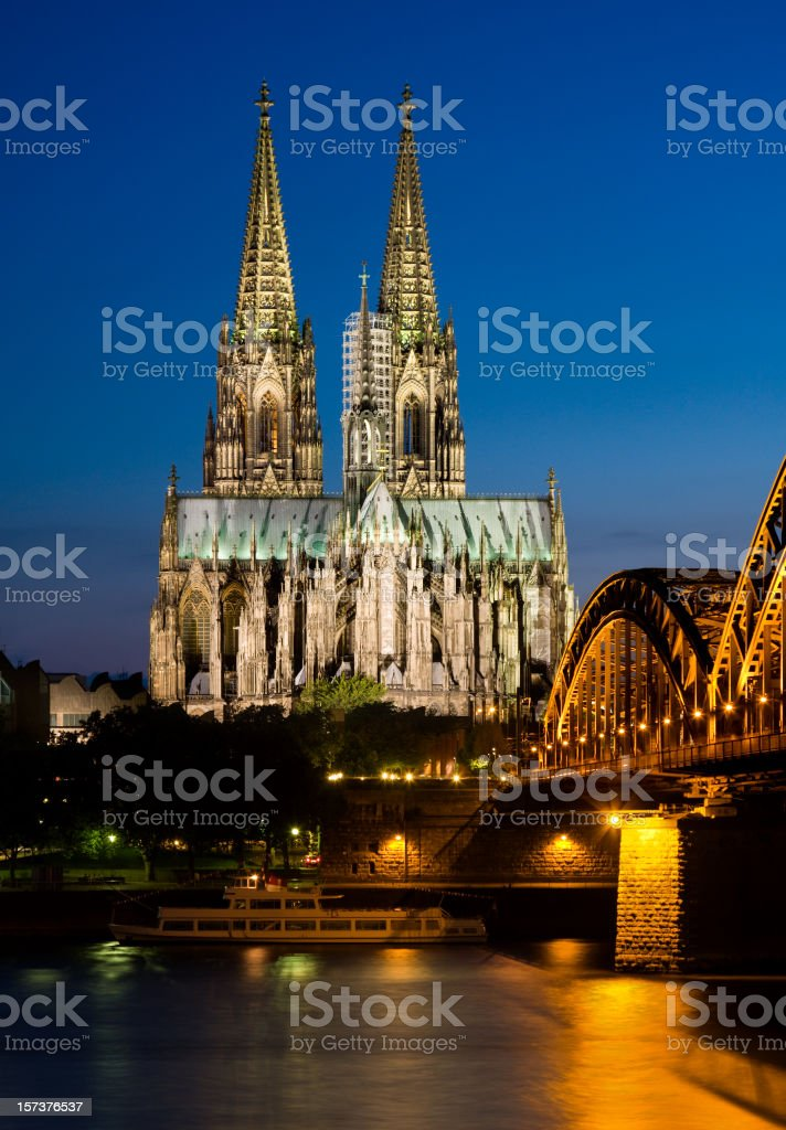 Cologne Cathedral At Night stock photo