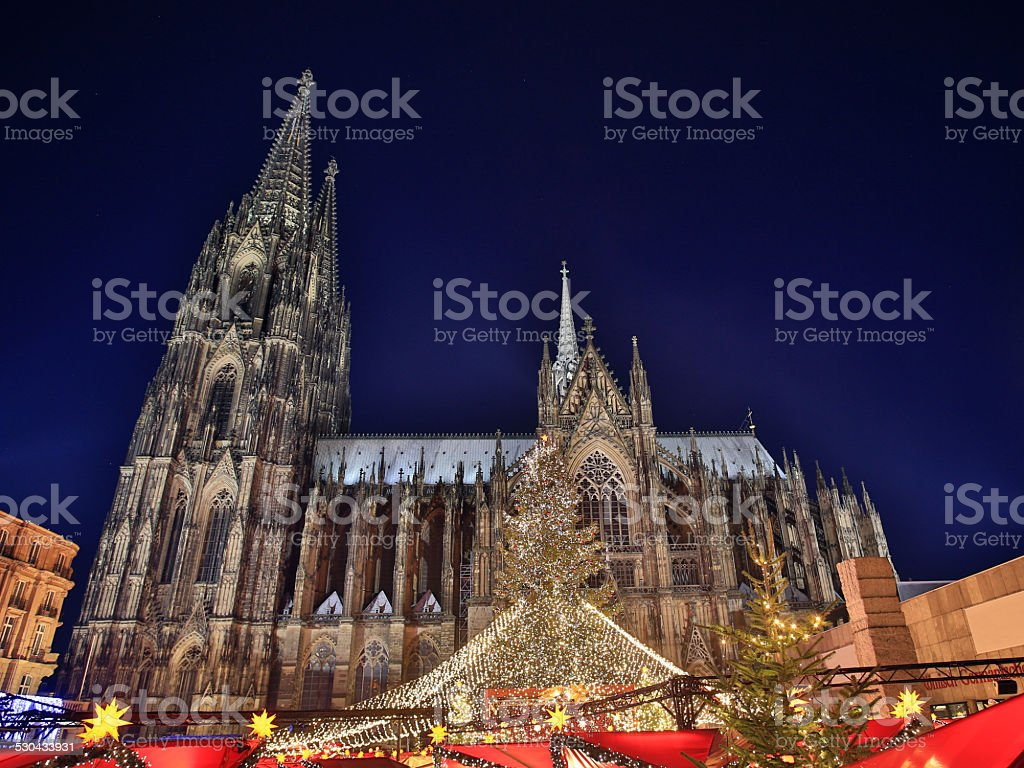 Cologne Cathedral Christmas Market at Night stock photo