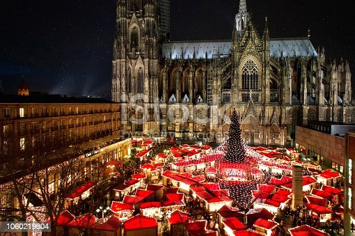 Panorama view of Cologne cathedral christmas market with illumination,  christmas tree and world heritage cologne cathedral.