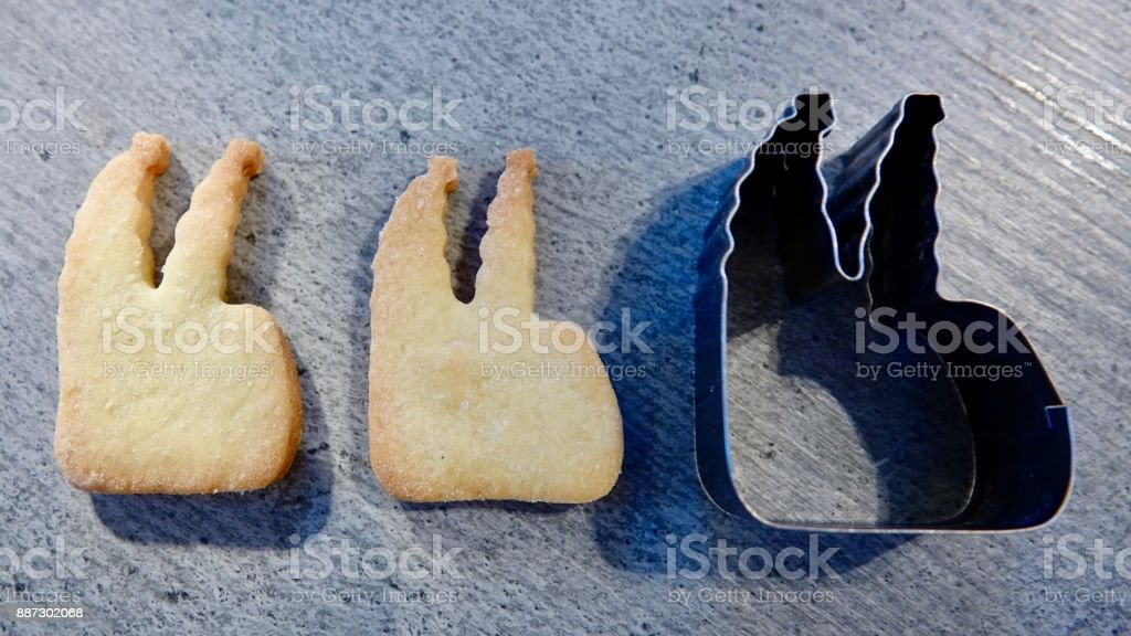 Cologne Cathedral, cookies and baking pan stock photo