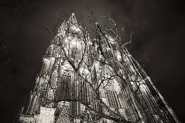 Cologne Cathedral night black and white stock photo